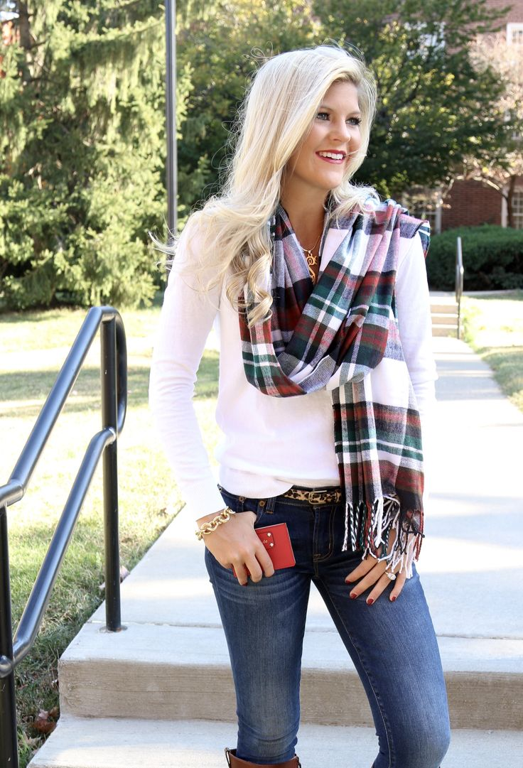 Defiently like the top, but I would want darker blue or black jeans & no scarf or watch