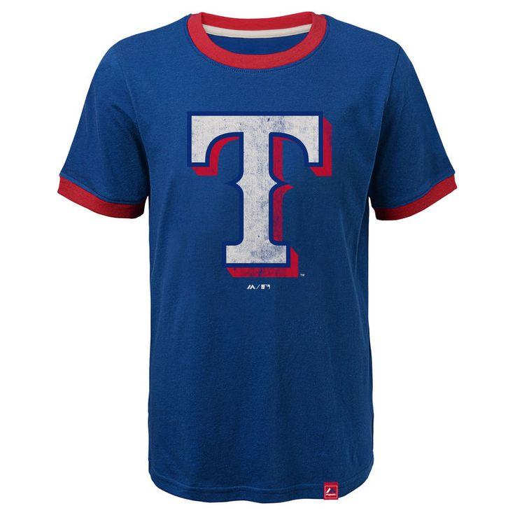 Texas Rangers Majestic Youth Baseball Stripes Ring T-Shirt - Royal