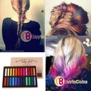 24 colores de moda Hot Fast no tóxico temporal tinte de cabello en colores pastel tiza Color # 02