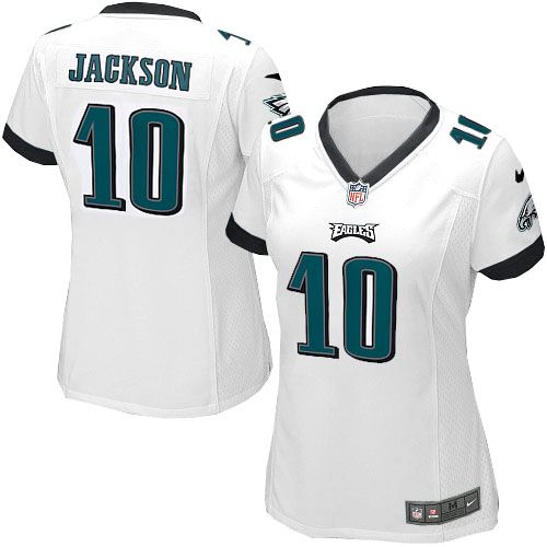 As the official online store of the NFL Philadelphia Eagles, we offer you a large selection of new Women's Nike Philadelphia Eagles #10 DeSean Jackson Game White Jersey for men's, women's, youth and kids at Official Shop. Visit the official NFL Eagles Store regularly for great discounts, free shipping offers on top Philadelphia Eagles Jersey and the latest fan gear for men, women and kids! $69.99