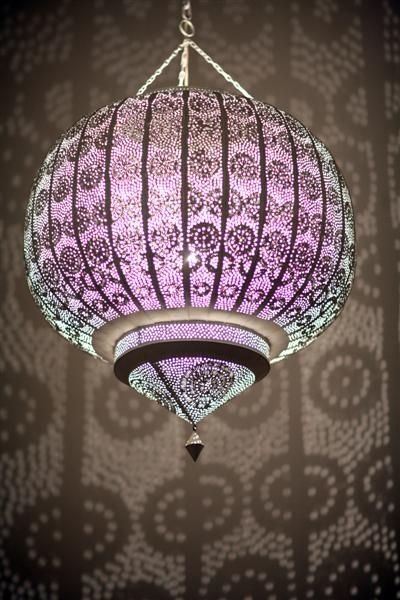 Moroccan punched metal lamp.