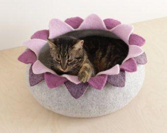 Kat bed/kat huiskat/grot / donker grijze bloem vilten kat bed