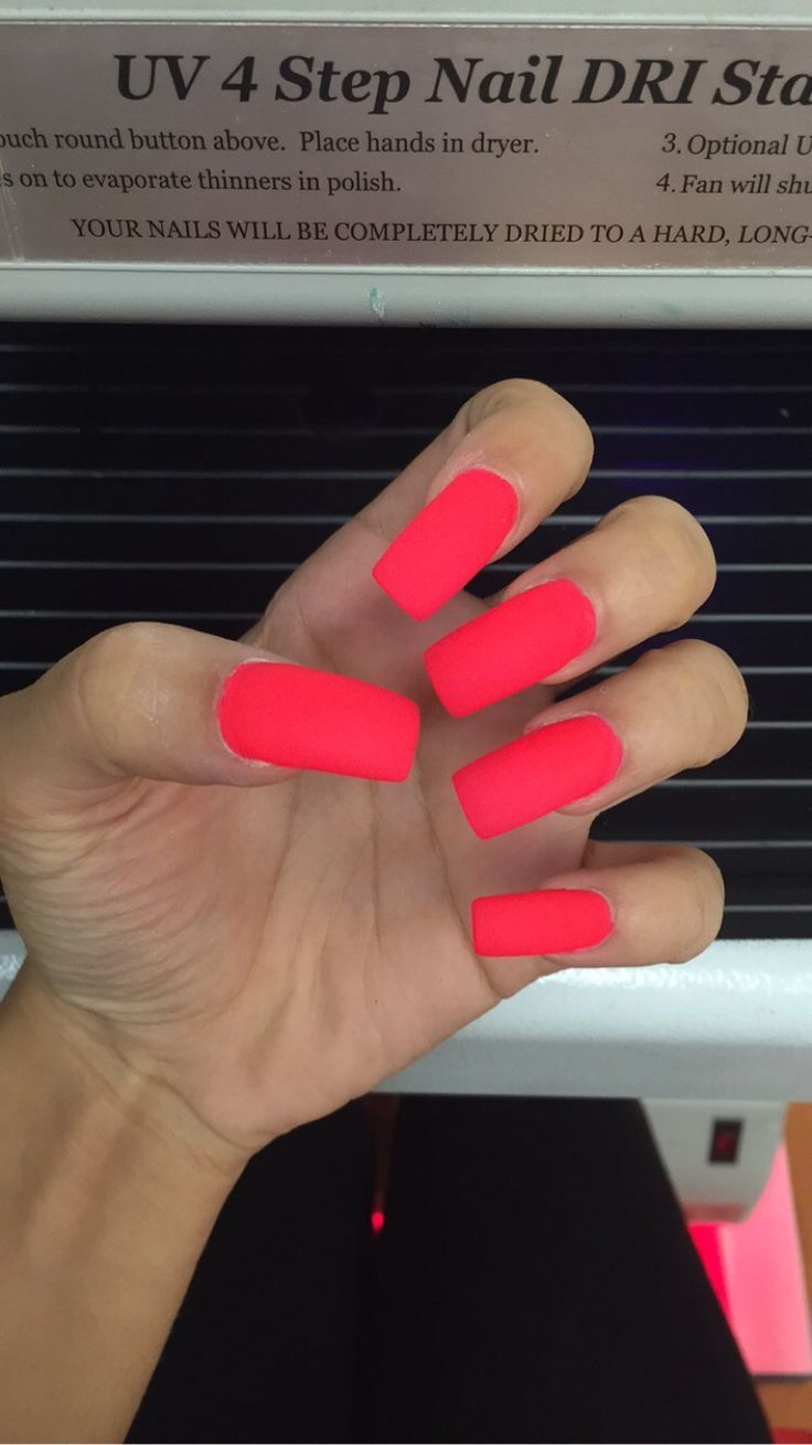 Matte Bright neon pink summer long square acrylic nails