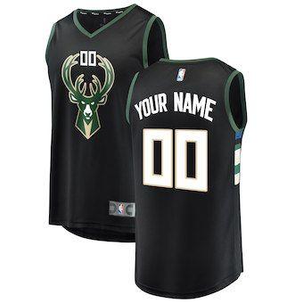 2de3aef2f59 Milwaukee Bucks Fanatics Branded Youth Fast Break Custom Replica Jersey  Black - Statement Edition