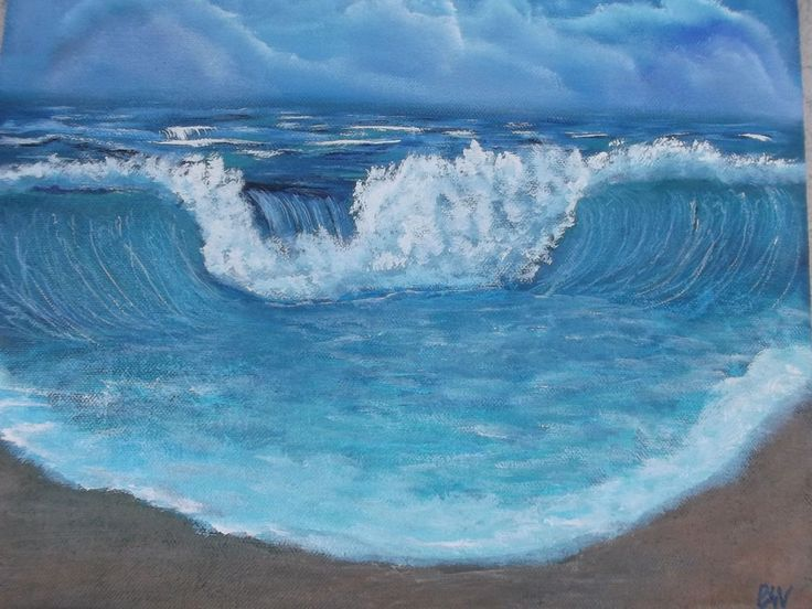 Details about Big Markdown! Original hand-painted acrylic Surreal 14×18″ Wave Beach decor