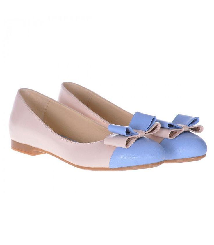 Balerini Dama Piele Naturala Nude - Bleu - Cod L01