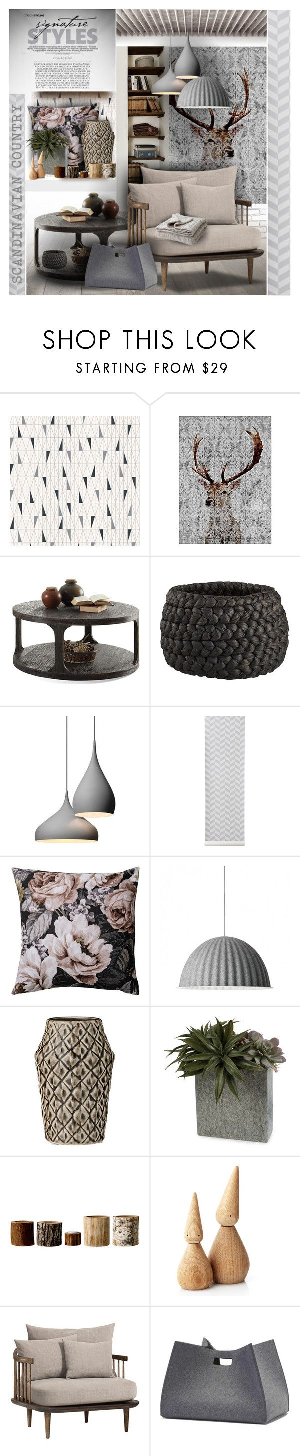 """""""Scandinavian Country"""" by giudittina on Polyvore featuring interior, interiors, interior design, home, home decor, interior decorating, BoråsTapeter, CB2, ferm LIVING and Bloomingville"""