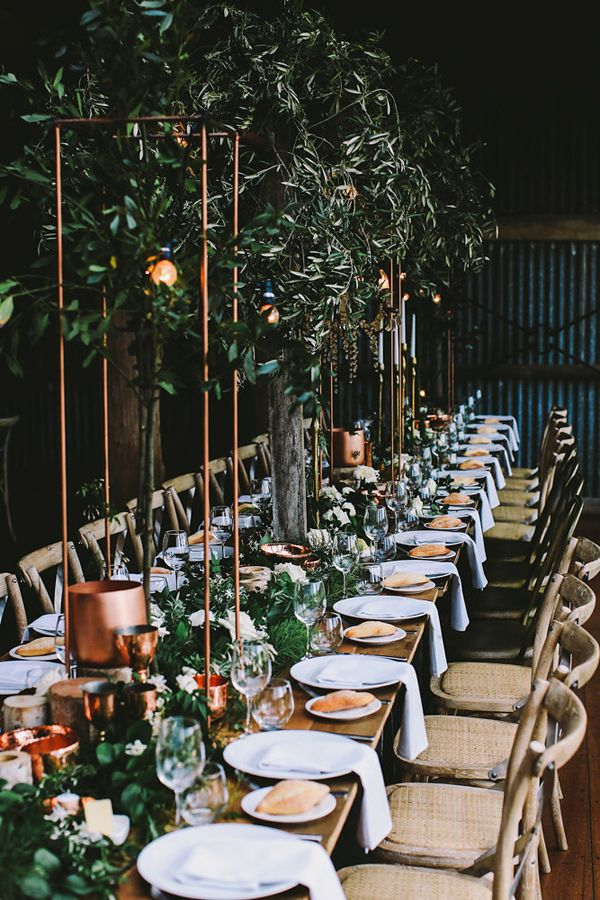industrial garden reception - photo by Lara Hotz Photography http://ruffledblog.com/botanical-australian-barn-wedding