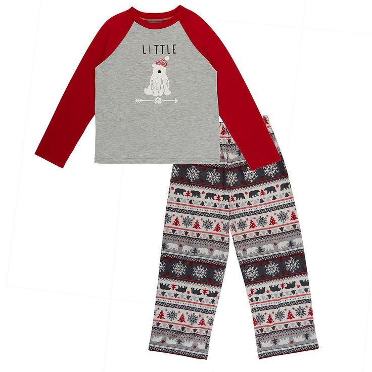 Boys 4-20 Cuddle Duds Family Jammies Little Bear Top & Fairisle Bottoms Pajama Set, Size: 18-20, Brt Red