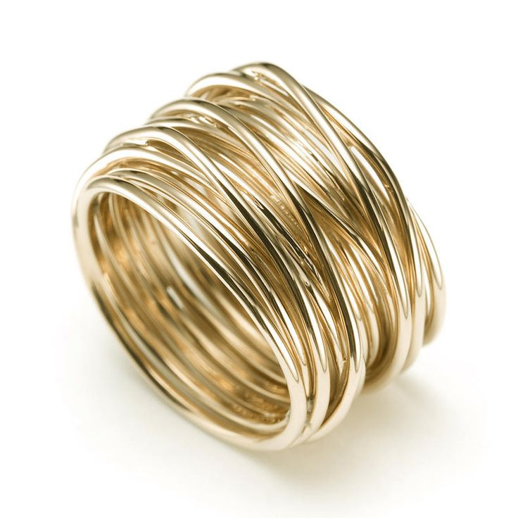 Mattoli Tibet Collection Multi-Wire Wide Ring 18-Karat Yellow Gold Width: 11.50mm Size 7 Style #: MAN75014 Stock #410-2000148