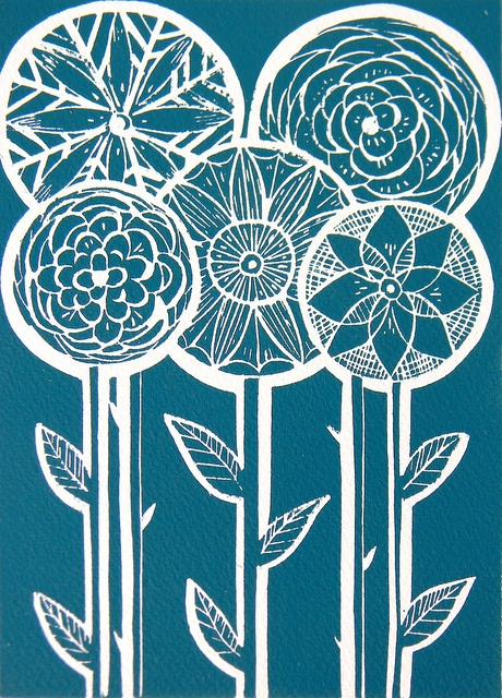 Five Flowers Lino Print