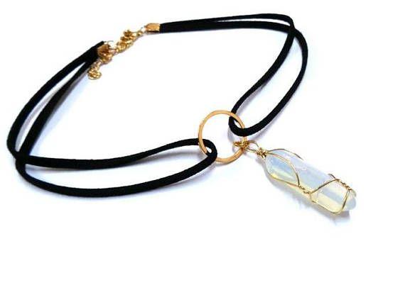 Gold Wire-Wrapped Opalite Choker Black Velvet Choker Crystal