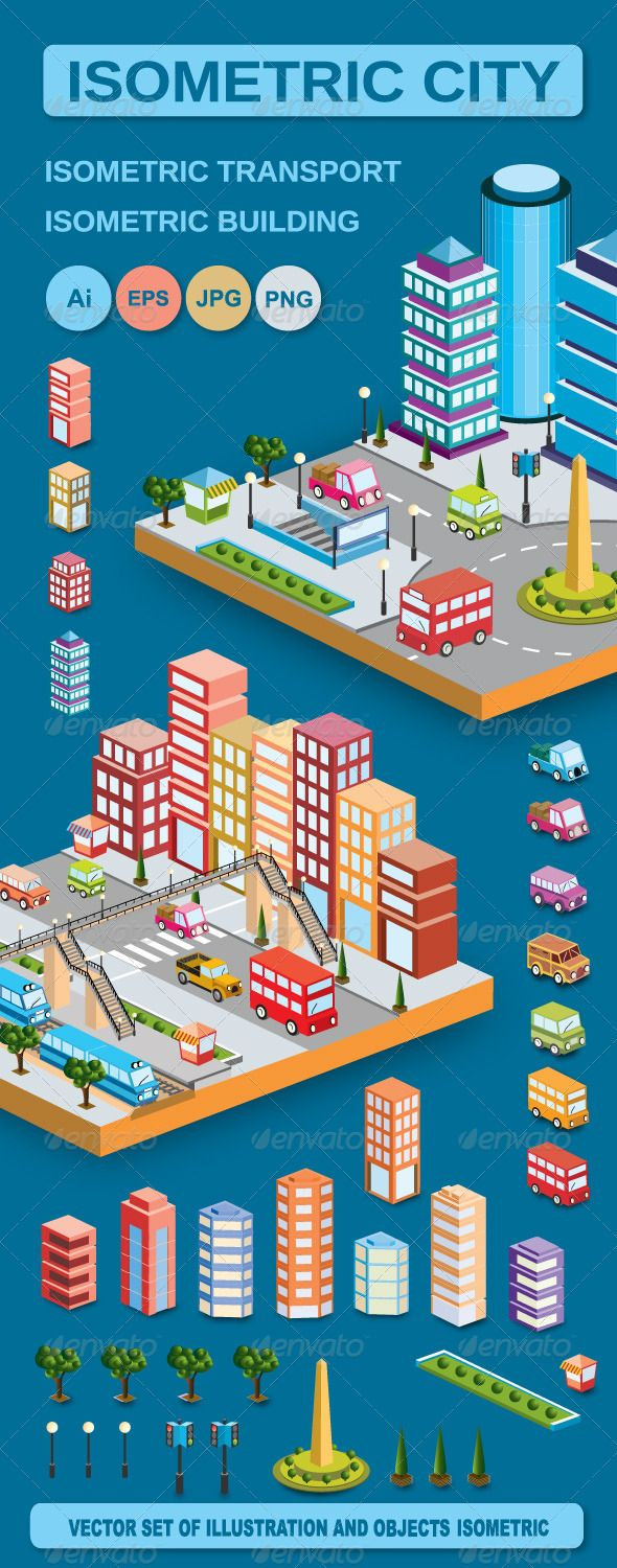 Vector Isometric Home  #GraphicRiver         A set of vector elements
