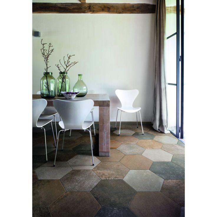Carrelage hexagonal sol effet pierre terre cuite 36 4x40 for Carrelage imitation marbre