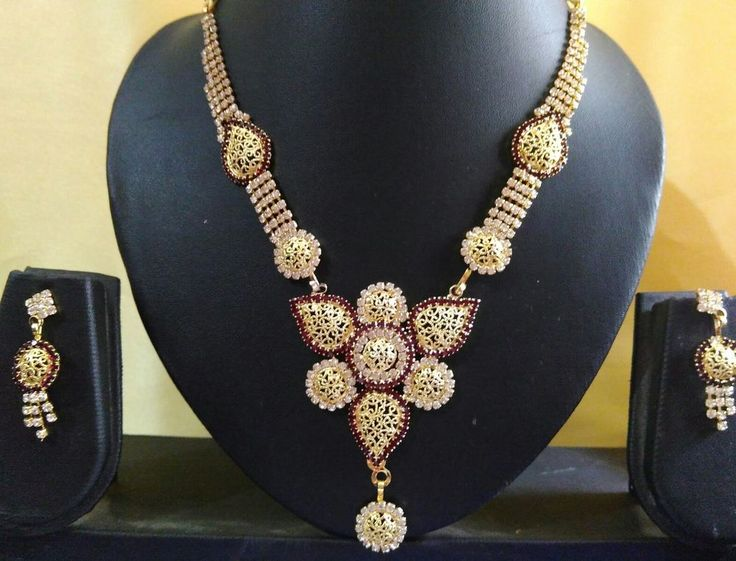 One Gram Gold Plated ameRican diamond crystal necklace set | eBay