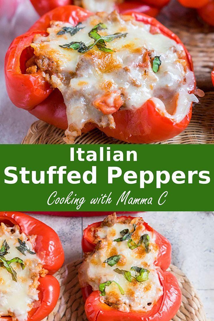 My Italian Stuffed Peppers Feature Ground Beef Rice And Onions With Marinara Pecorino Romano Stuffed Peppers Italian Stuffed Peppers Stuffed Peppers Healthy