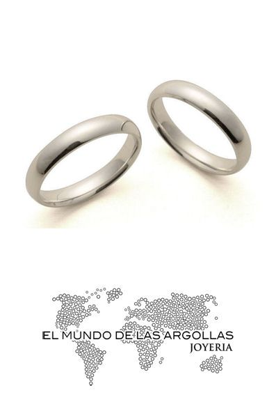 Modelo: A-B90494M Argolla oro blanco 14k confort liso 4mm #ArgollasDeMatrimonio