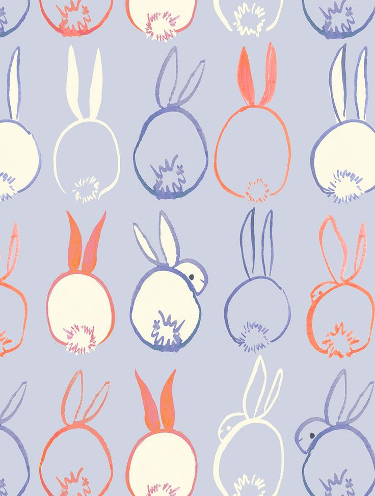 rabbit, bunny, print, pattern, painting, design, fabric, cute, easter, colour
