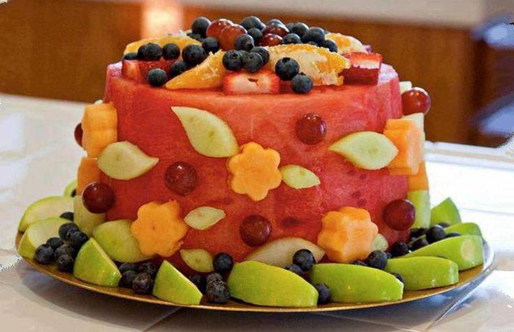 Fruit shaped like a cake Food Pinterest Cake Blaze birthday