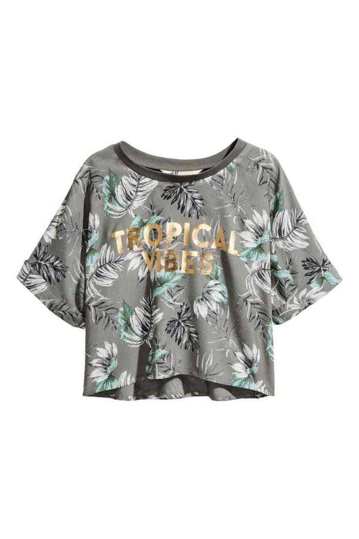 Cropped top - Khaki green - Kids   H&M GB