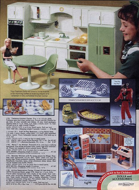Wolverine Kitchen Set, Inflatable Furniture, Mork from Ork and Wonder Woman Dolls and Airline Reservation Center Playset from the Sears Christmas Wishbook Catalog, 1979