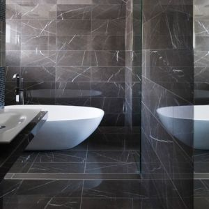 Polished Pietra Grey Marble Sets For Modern Bathroom