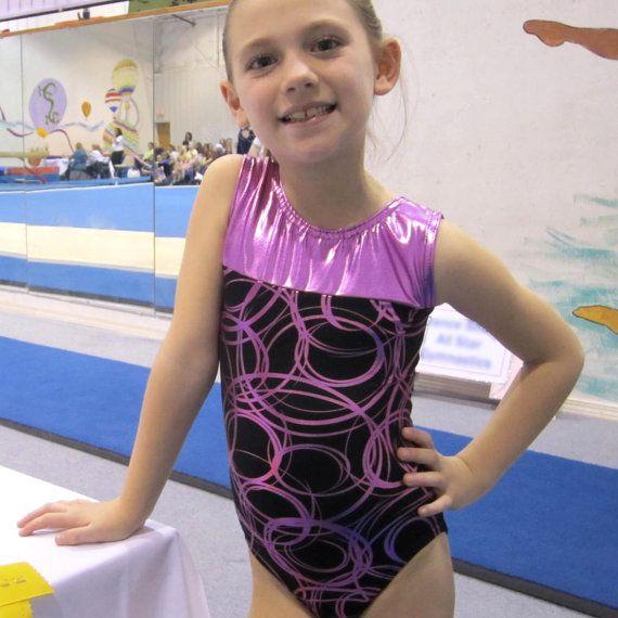 Gymnastics Girls Leotard Childrens size 4 6 8 10 12 black pink metallic circular design New Youth Gym Dance Leo