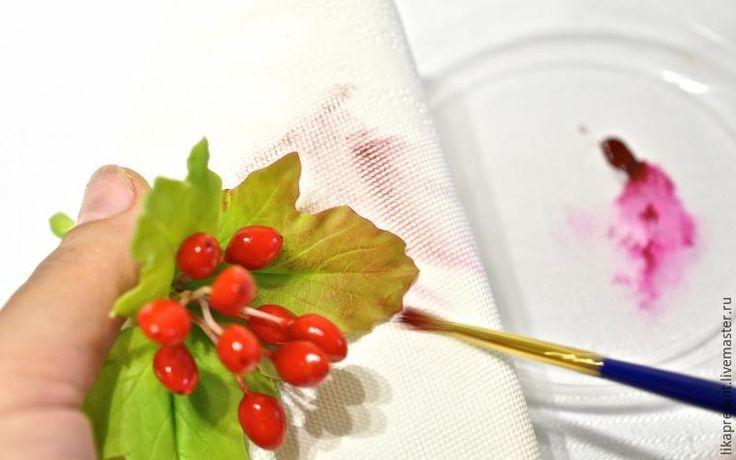 Лепим веточку калины из полимерной глины и холодного фарфора - Ярмарка Мастеров - ручная работа, handmade