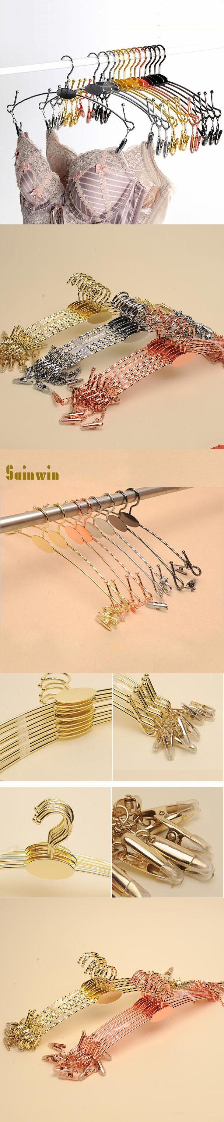 Sainwin 10pcs/lot 28cm Metal Hangers For Clothes Pants Clip Underwear Bra Hanger Panties Clips Clothes Rack (30pcs can LOGO)