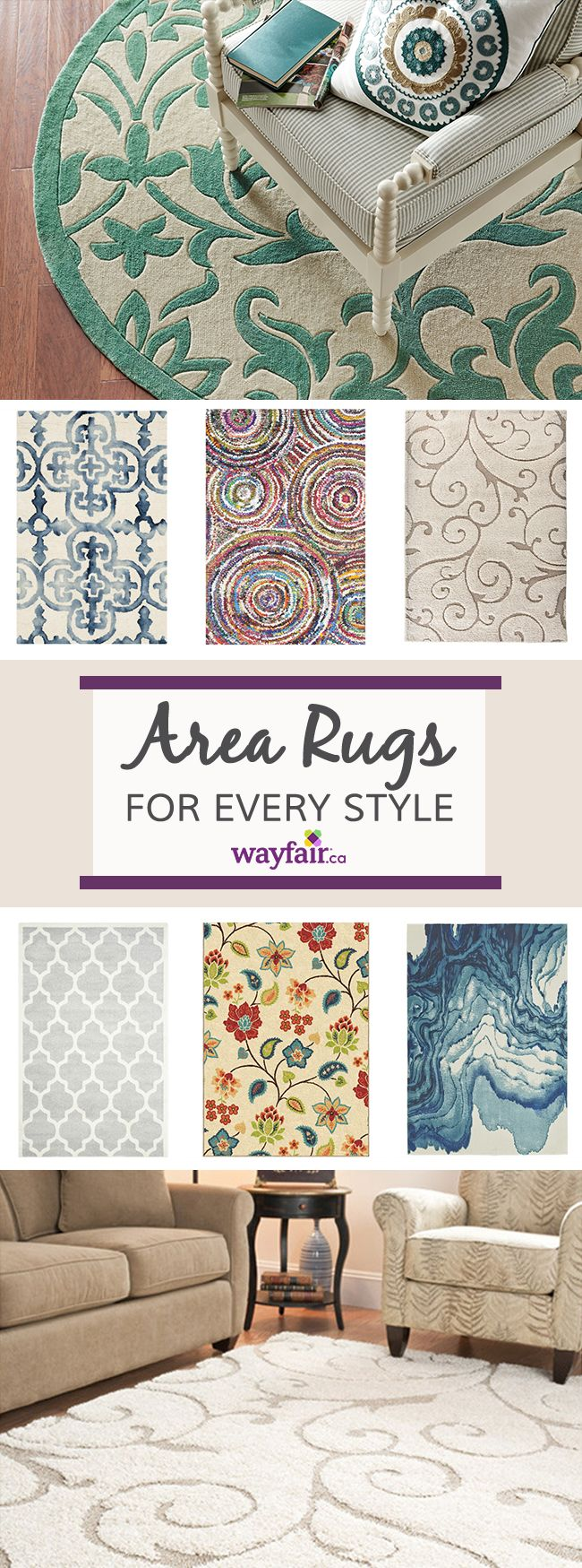 Determine what kind of area rug would fit your room best! Rectangular rugs can be used in all rooms, while round rugs are most popular in entryways or dining rooms. Runners often line hallways, staircases, and kitchens for added style. Visit Wayfair and sign up today to get access to exclusive deals everyday up to 70% off. Free shipping on all orders over $75.