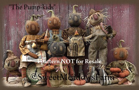 Ta-da! The Pump-kids! This is a HUGE pattern. It includes directions to make the pumpkin dolls that stand on their own wearing old baby shoes. The are a good 25-25 long including stems when made up. Also included are directions to make your pump-kid doll that sits. There are two
