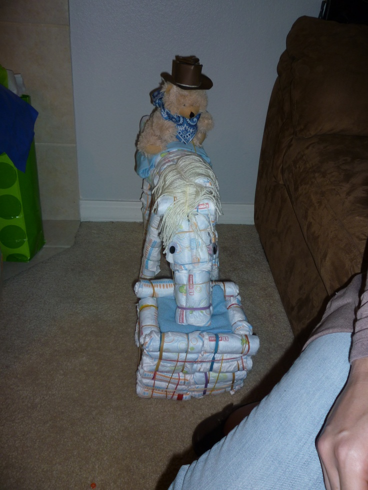 87 best cowboy cowgirl baby shower birthday party ideas images a cute horse i made out of diapers for a cowboy themed baby shower negle Choice Image