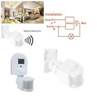 Motion Sensor Switch Detector Light White Outdoor Adjustable Infrared 110V-240V