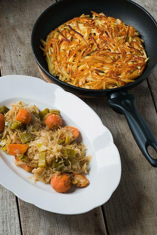 Sauerkraut-Quitten-Kartoffelrösti