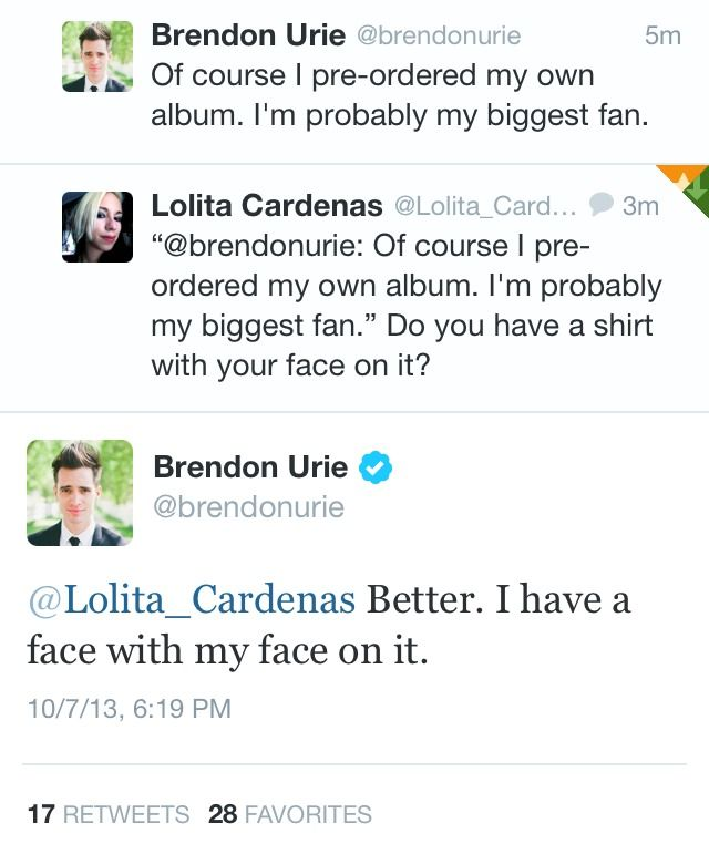 brendon urie has a face with his face on it  >>>>  this is news to us *note the sarcasm* lol