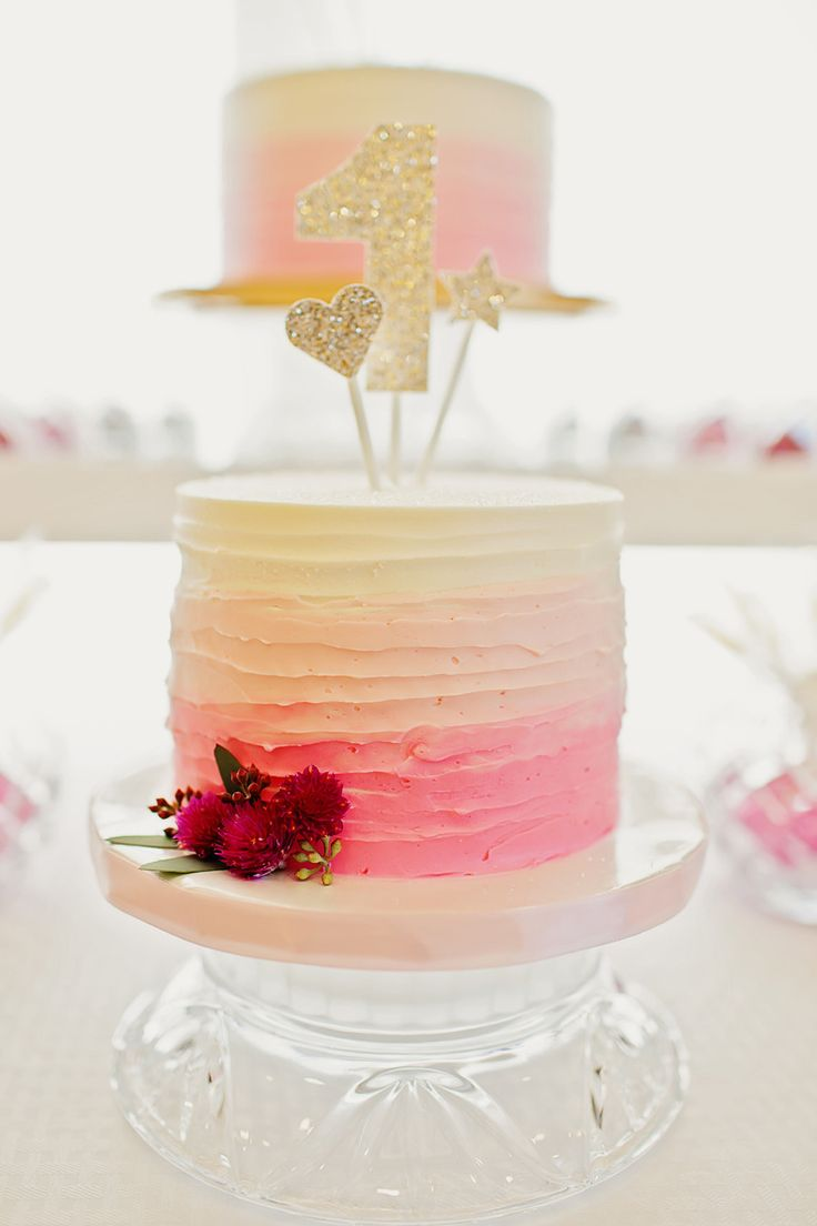 Pink Ombre First Birthday Cake... Make star cake with several shades of pink