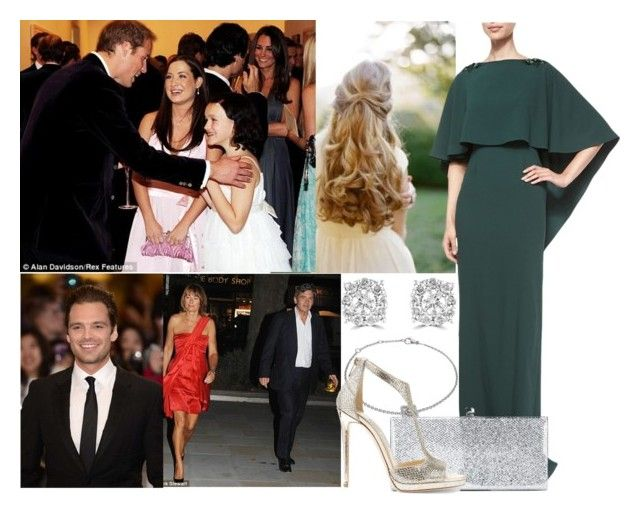 """""""Attending the charity auction for Starlight Children's Foundation with he brother William, Thomas and The Middletons"""" by alexandraofwales ❤ liked on Polyvore featuring ZAC Zac Posen, Pippa, De Beers, Jimmy Choo, Effy Jewelry and Sebastian Professional"""