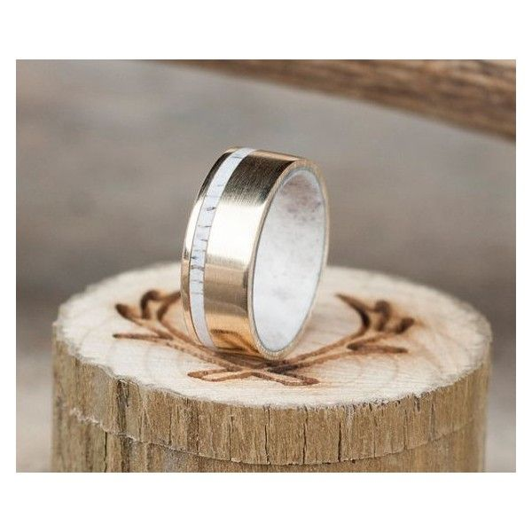 Men's Wedding Band 10K Yellow Gold Elk Antler Lined Ring with Antler... ❤ liked on Polyvore featuring men's fashion, men's jewelry, men's rings, mens yellow gold wedding rings, mens diamond band wedding ring, mens gold rings, mens gold wedding rings and mens yellow gold diamond rings