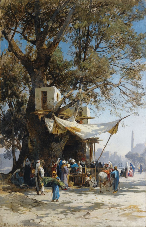 A busy market scene by Hermann David Salomon Corrodi (Italian, 1844-1905)