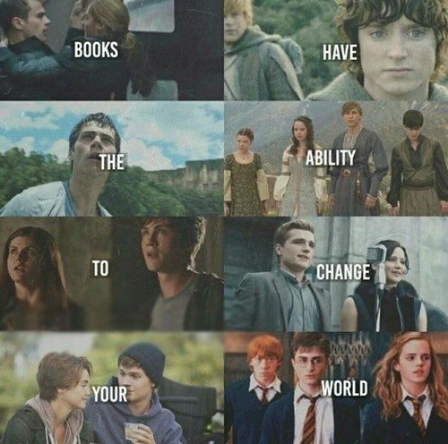 Books and reading. Divergent, The Hobbit, The maze runner, Narnia, Percy Jackson and the Olympians, Hunger Games, TFIOS, Harry Potter
