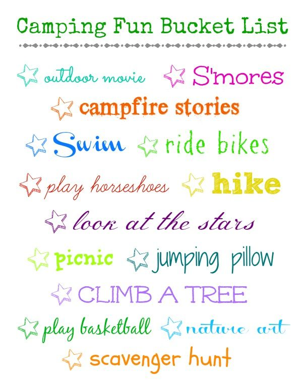 Camping Fun Bucket List - Organize and Decorate Everything