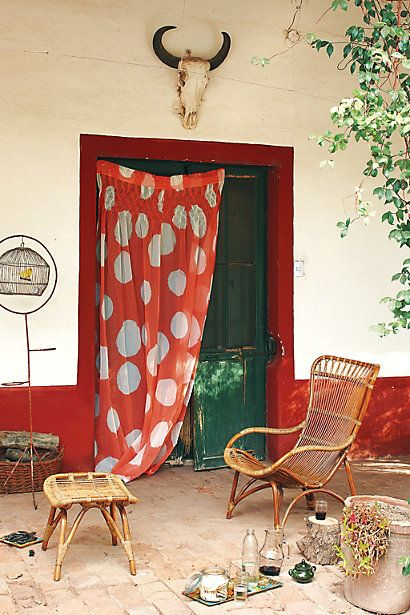 Niied to make doorway curtains for living room. Love the giant dots. Make some in blue?