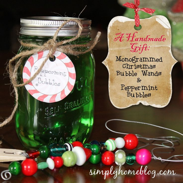 Peppermint Scented Bubbles and Beaded Monogram Bubble Wand Gift Set tutorial with free printable gift tag