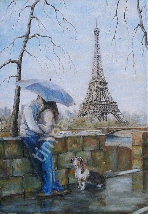 Романтика в Париже, картина раскраска по номерам, картина своими руками, размер 40*50см, цена 750 руб.