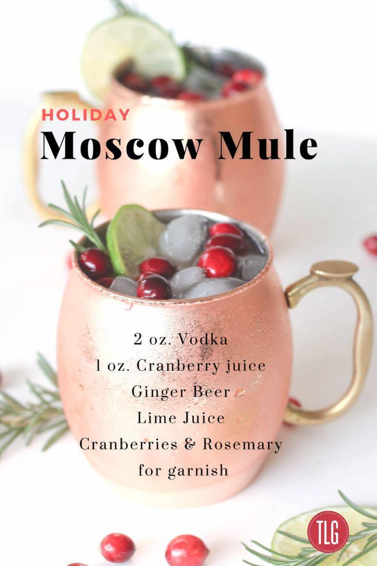 Holiday Moscow Mule with Fresh Cranberries, Lime and Rosemary.