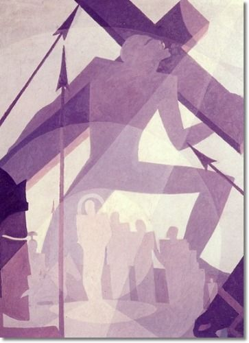 Aaron Douglas - The Crucifixion - Harlem Renaissance - 1927: Paintings Harlem, Douglas Paintings, Crucifixion, Harlem Renaissance, Black People, Renaissance Paintings, Artist Aaron, Black Art