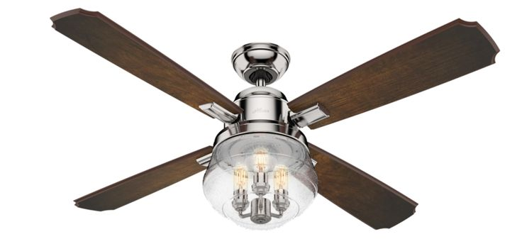 The glamorous Sophia is a unique artistic statement like no other ceiling fan. The polished nickel and premium carved-wood blades highlight the centerpiece of the design: a beautiful globe of seeded glass surrounding a chandelier-style light fixture with exposed LED bulbs. This trendy fan is part of Hunter's Masterpiece Collection, which means state-of-the-art design and top-of-the-line features like dimmable bulbs and a fully functional handheld remote.