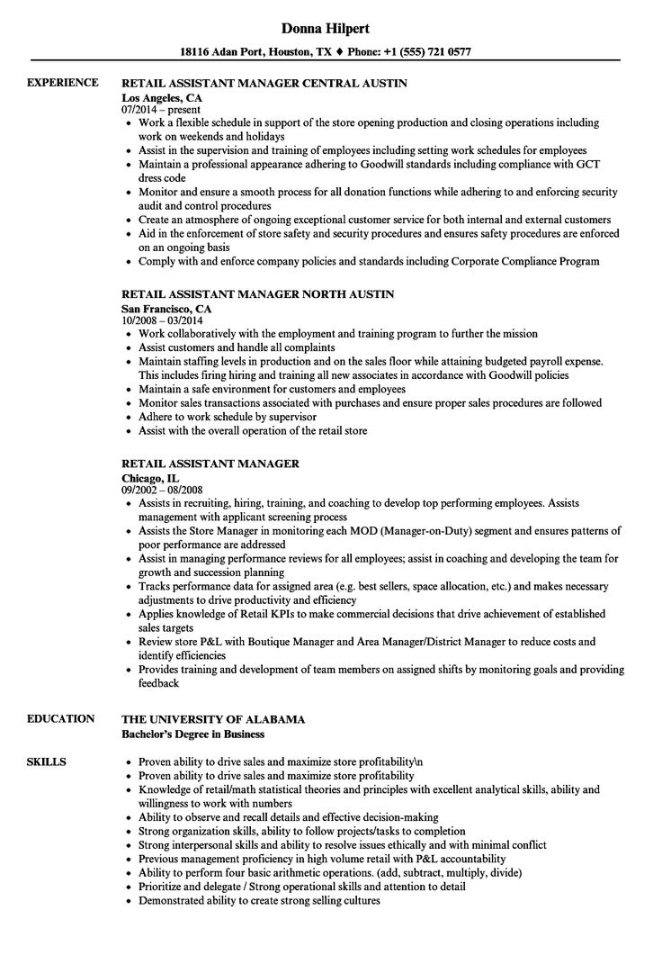 Resume template retail assistant manager image collections