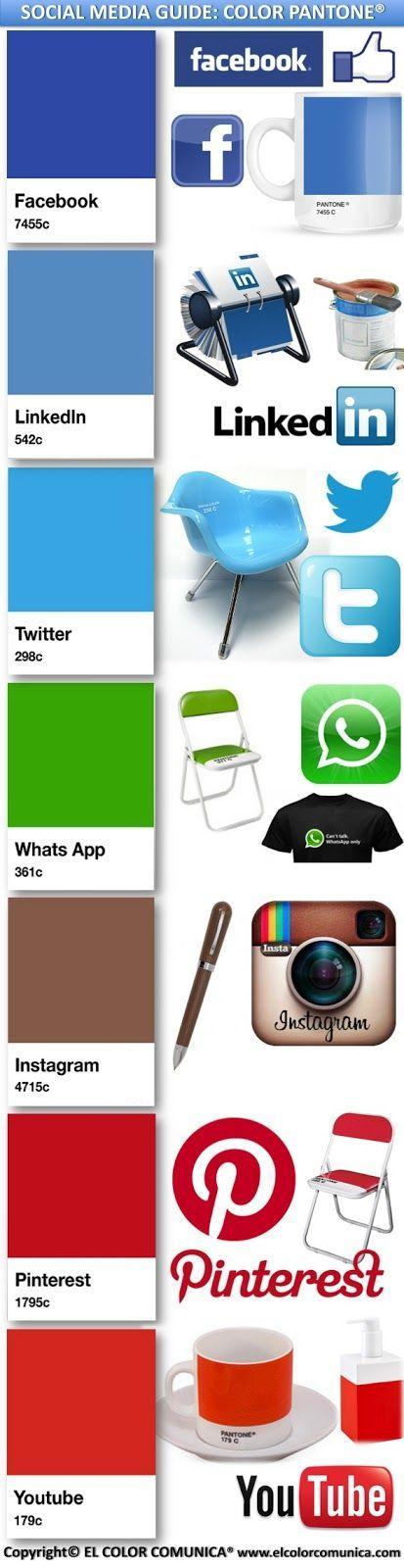Infografia con los Pantone de las principales redes sociales | Infografia - Las mejores infografias de Internet #infographics