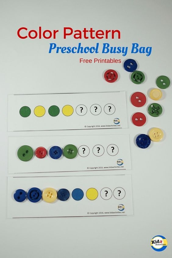 Color Pattern Busy Bag with Free Printables